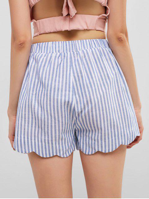 shops ZAFUL Striped Print Scalloped Mini Shorts - CRYSTAL BLUE S Mobile