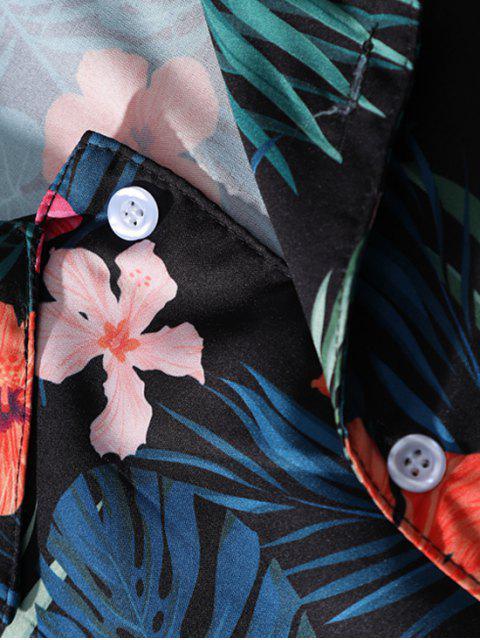 Camisa de playa de vacaciones con estampado floral de hojas tropicales de Hawaii - Multi-J XL Mobile