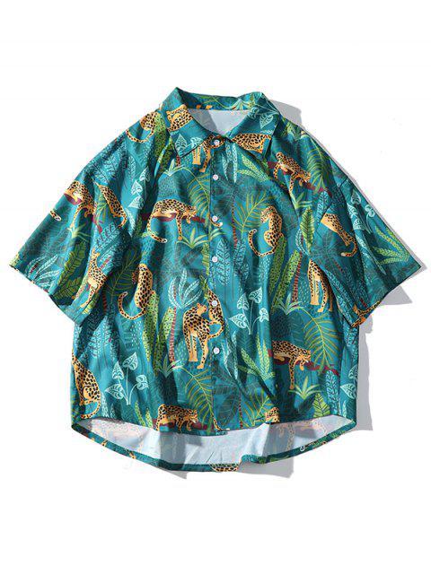 Chemise boutonnée à imprimé feuilles de plantes léopard - Vert Mer Moyen XL Mobile