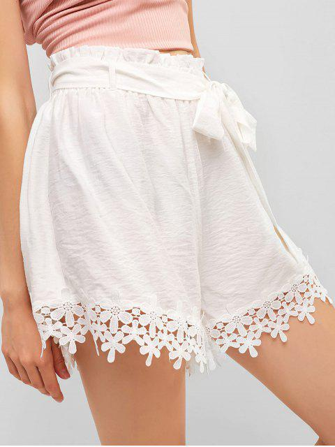 women ZAFUL Floral Lace Panel Belted Paperbag Shorts - WHITE L Mobile