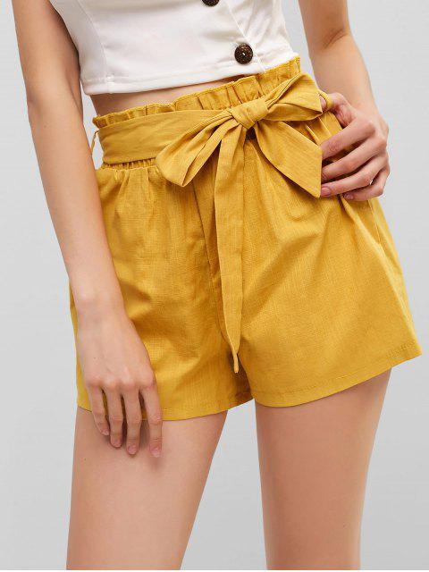 lady Solid Belted Paperbag Shorts - YELLOW L Mobile
