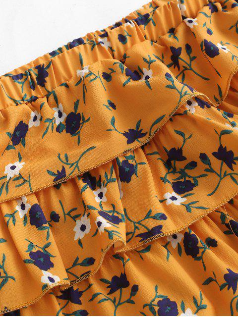 Ensemble de courts shorts floraux superposés à jambes larges - Jaune d'Abeille M Mobile