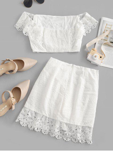 Robe Panneau en Dentelle au Crochet Superposée à Epaule Dénudée Deux Pièces - Blanc L Mobile