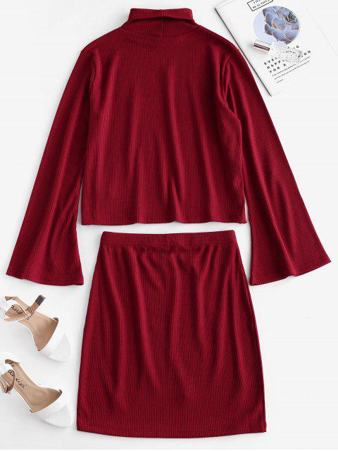 fancy ZAFUL Ribbed Flare Sleeve Faux Pearls Two Piece Dress - CHESTNUT RED M Mobile