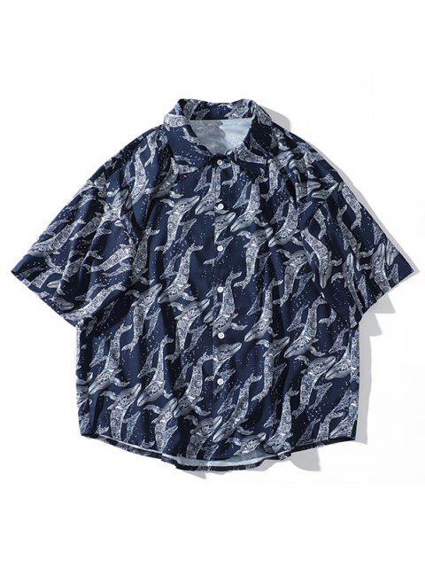 Chemise de plage à manches courtes à imprimé dauphin d'eau de Sea Waves - Bleu Marine XL Mobile