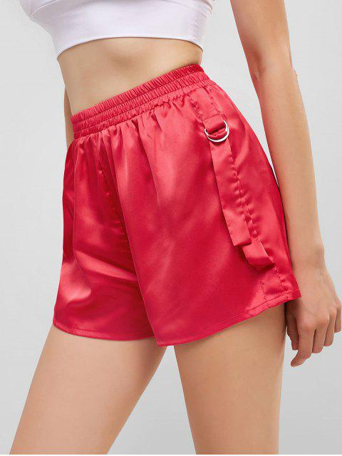 buy ZAFUL Buckle Strap Casual Mini Shorts - DEEP PINK S Mobile