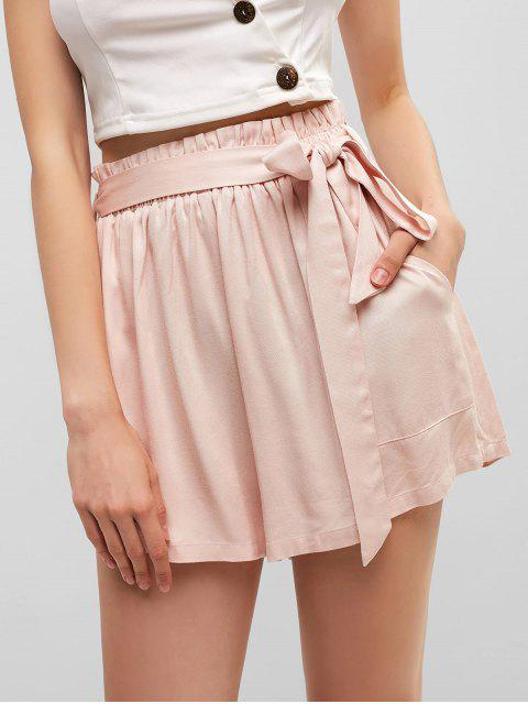 lady ZAFUL Pocket Belted Paperbag Waist Shorts - ROSE L Mobile