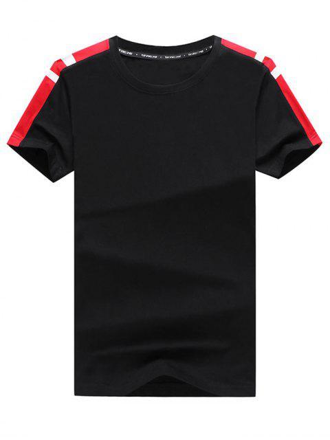 Panel de bloques de color a rayas camiseta casual y pantalones largos - Negro L Mobile