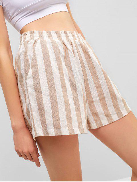 affordable ZAFUL High Waisted Striped Pocket Shorts - MULTI S Mobile