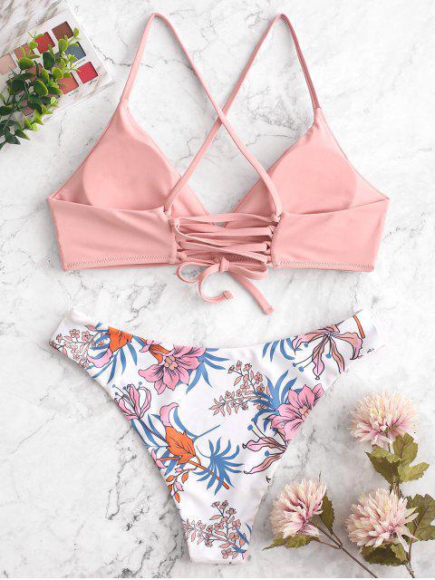 ZAFUL Maillot de Bain Bikini Fleur à Lacets - Multi-A L Mobile