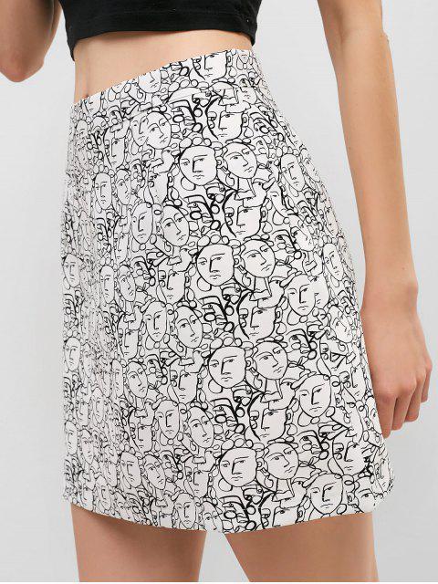 Portrait taille haute imprimé jupe - Blanc L Mobile