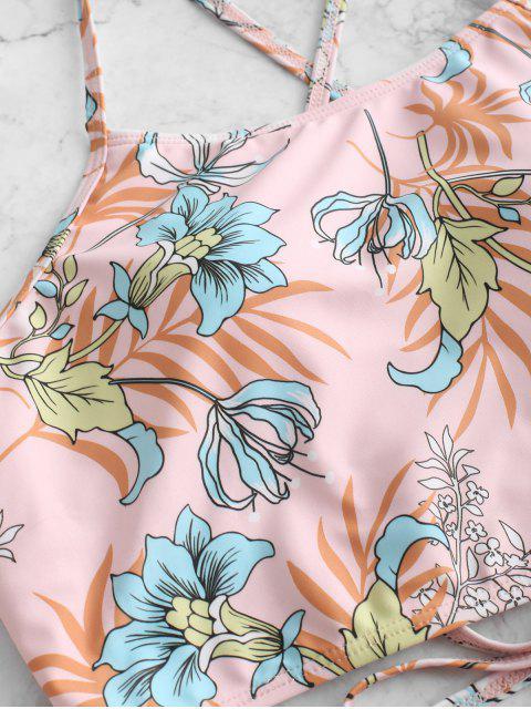 ZAFUL Flower Striped Lace Up Tummy Control Tankini traje de baño - Multicolor-A S Mobile