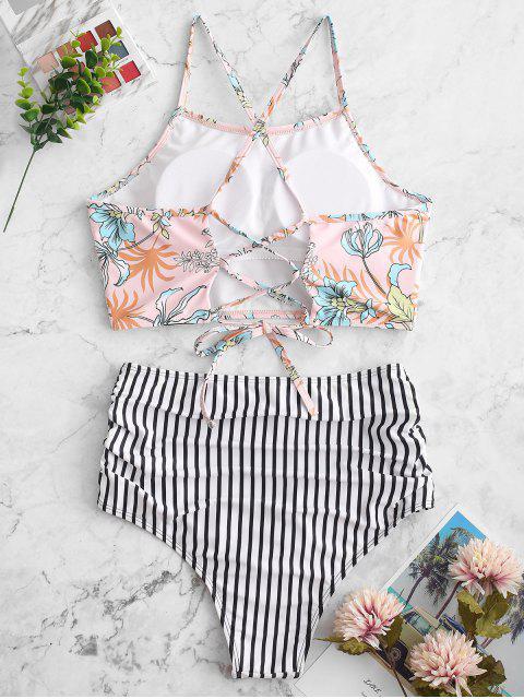women's ZAFUL Flower Striped Lace Up Tummy Control Tankini Swimsuit - MULTI-A M Mobile