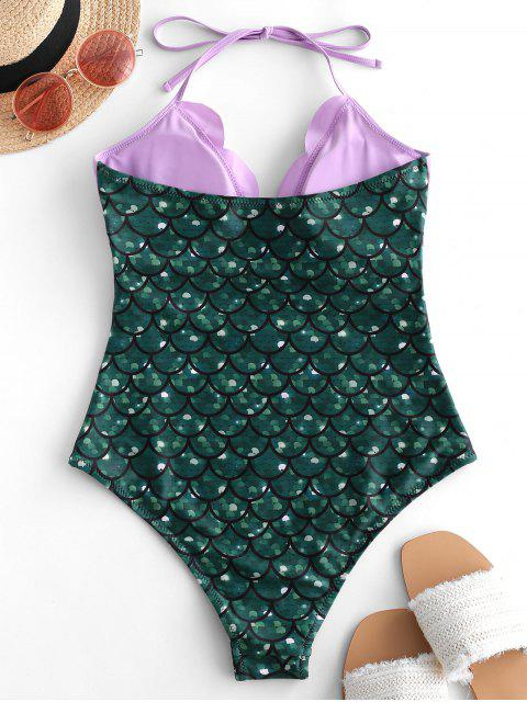 chic ZAFUL Halter Scalloped Mermaid One-piece Swimsuit - GREENISH BLUE M Mobile