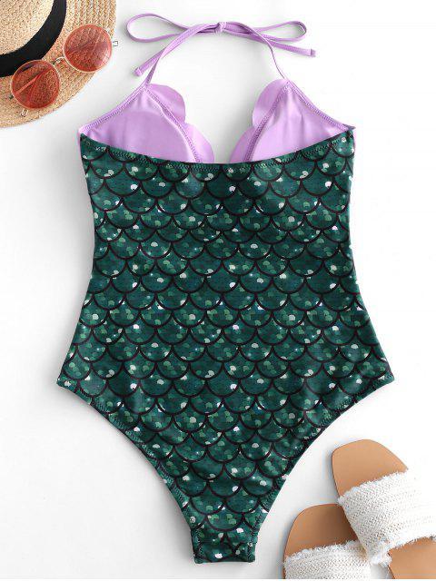 ladies ZAFUL Halter Scalloped Mermaid One-piece Swimsuit - GREENISH BLUE XL Mobile