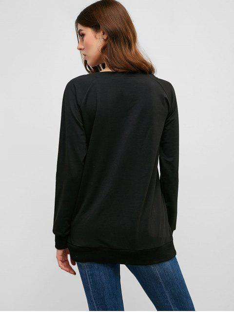 ZAFUL Sweat-shirt Drapeau USA à Manches Raglan - Noir S Mobile