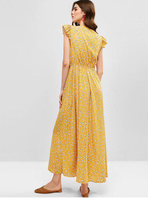 Zaful impressão floral mergulho pescoço slit maxi dress - Abelha Amarela S Mobile