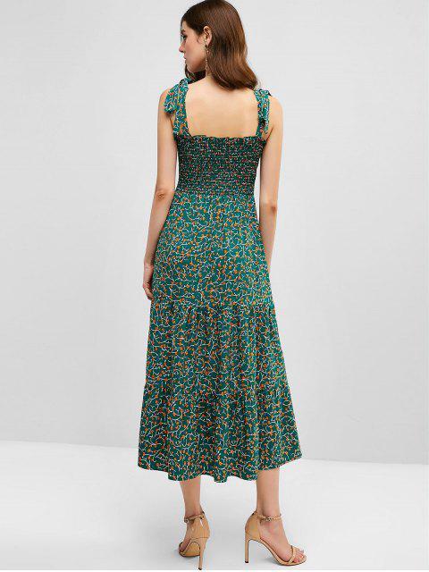 ZAFUL Vestido Floral de Hombro con Lazo Descubierto con Estampado de Flor - Azul Verdoso L Mobile