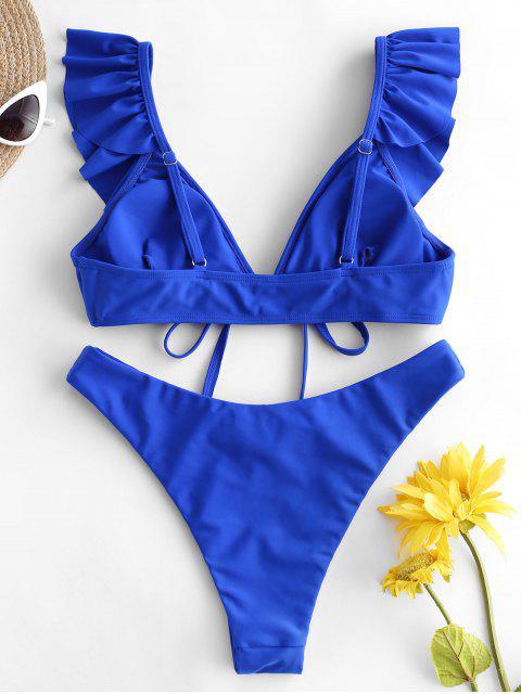 ZAFUL Maillot de Bain Bikini Noué en Avant à Jambe Haute à Volants - Bleu Cobalt S Mobile
