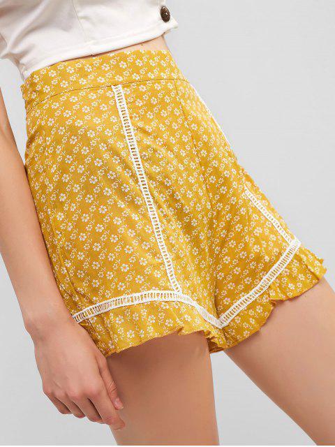 Short Fleuri Taille Haute à Ourlet au Crochet - Jaune L Mobile