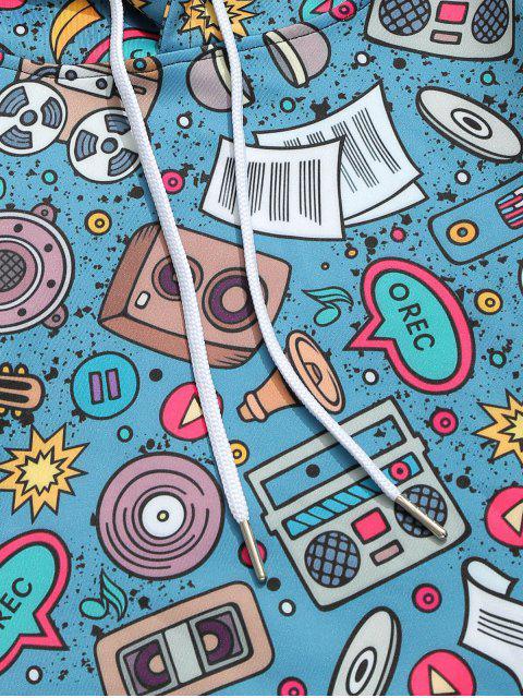 Sweat à Capuche Décontracté Elément Note de Musique Imprimé avec Poche Kangourou - Paon Bleu 2XL Mobile