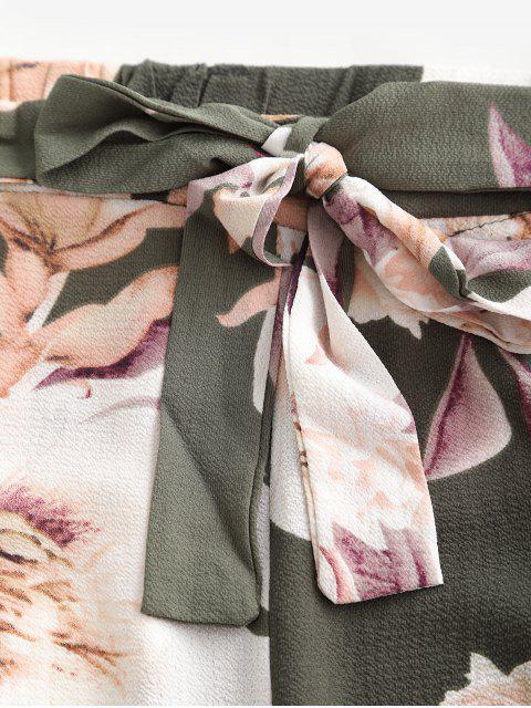 Ensemble Haut Bandeau Fleuri et de Pantalon à Jambe Large - Vert L Mobile