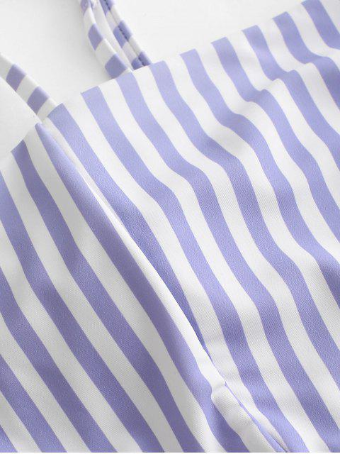 ZAFUL Striped Lace Up Traje de baño Tankini de cintura alta - Multicolor-A L Mobile