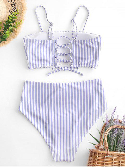 ZAFUL Striped Lace Up Traje de baño Tankini de cintura alta - Multicolor-A M Mobile