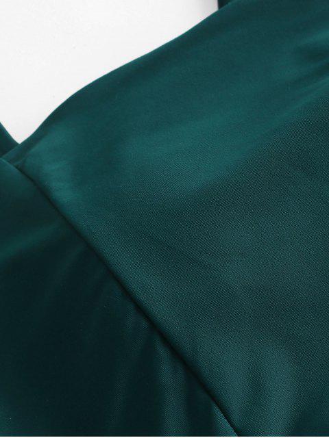 ZAFUL Maillot de Bain Bikini Croisé à Taille Haute à Lacets - Paon Bleu S Mobile