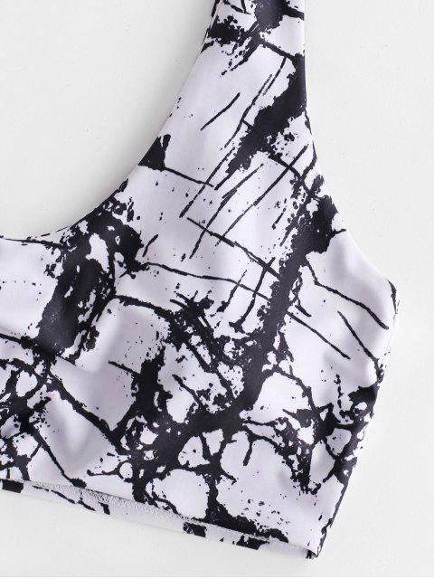 fancy ZAFUL Marble Print Knotted Tummy Control Tankini Swimwear - MULTI-A 2XL Mobile