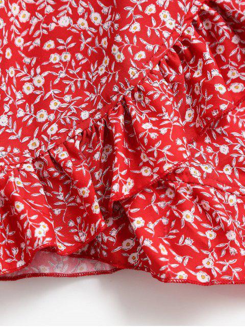 Ensemble de Haut Bandeau Fleuri Plissé et de Jupe à Volants - Rouge M Mobile