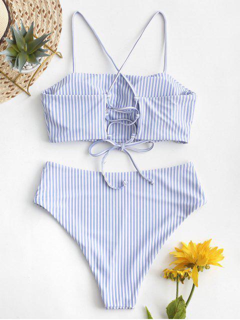 ZAFUL Maillot de Bain Bikini Rayé à Taille Haute à Lacets - Bleu de Mer S Mobile