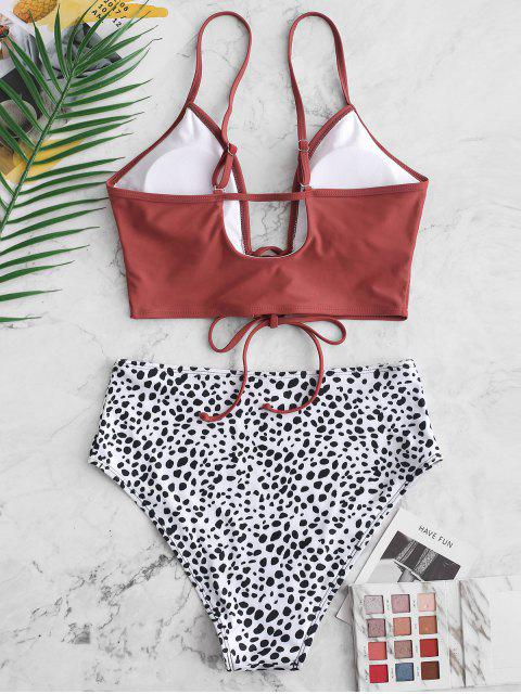 ZAFUL Dalmatian Dot Lace-up Tankini traje de baño - Rojo Cereza M Mobile
