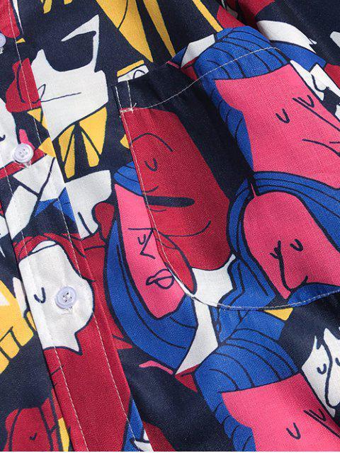 Camisa informal de bolsillo con estampado de personaje de dibujos animados - Rosa Neón 2XL Mobile