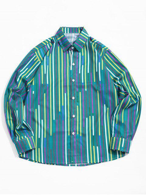 Rayas de empalme de colores Imprimir Camisa de cuello vuelto - Azul Verdoso 2XL Mobile