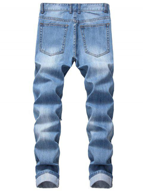 Destroy Wash休閒直筒長牛仔褲 - 牛仔布藍色 40 Mobile