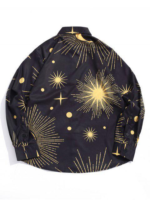 閃閃發光的太陽和月亮星點印花長袖襯衫 - 黑色 XL Mobile