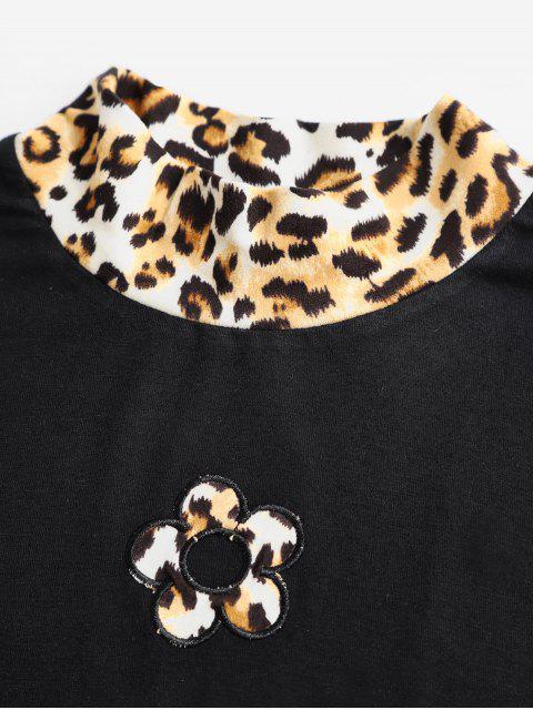 lady ZAFUL Flower Leopard Print Crop Tee - MULTI XL Mobile
