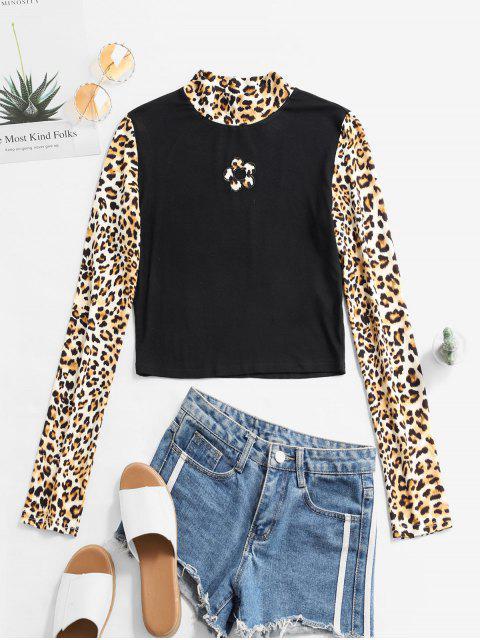 shops ZAFUL Flower Leopard Print Crop Tee - MULTI L Mobile