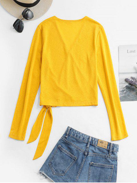 ladies ZAFUL V Neck Solid Knotted Top - BEE YELLOW XL Mobile