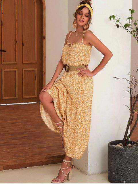 fancy Tied Collar Smocked Ditsy Floral Cami Dress - BEE YELLOW M Mobile
