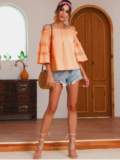 hot Lettuce Trim Solid Off Shoulder Blouse - LIGHT SALMON S Mobile