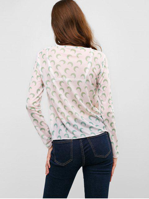 womens Long Sleeve See Thru Moon Print Top - GREEN ONE SIZE Mobile