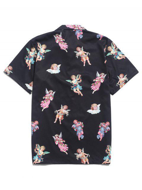 unique Paradise Floral Angel Print Beach Shirt - BLACK 2XL Mobile