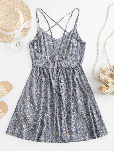 ZAFUL Criss Cross Strappy Ditsy Floral Cami Dress, Blue gray