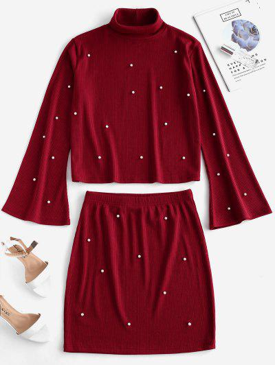 ZAFUL Ribbed Flare Sleeve Faux Pearls Two Piece Dress - Chestnut Red M