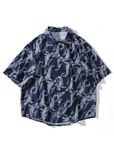 bdd96c81aa Sea Waves Water Dolphin Print Short Sleeve Beach Shirt - Navy Blue Xl ...