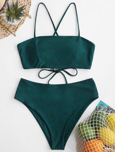 8f04cd494354b ZAFUL - Maillot De Bain En Bikini Taille Haute à Lacets - Paon Bleu M ...