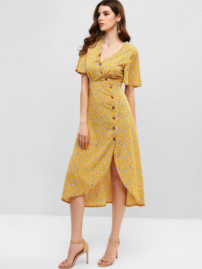 71745142d ZAFUL V Neck Ditsy Floral Button Up Midi Dress - Goldenrod S ...