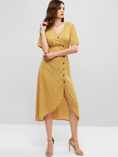 e3516a104 ... ZAFUL V Neck Ditsy Floral Button Up Midi Dress - Goldenrod S